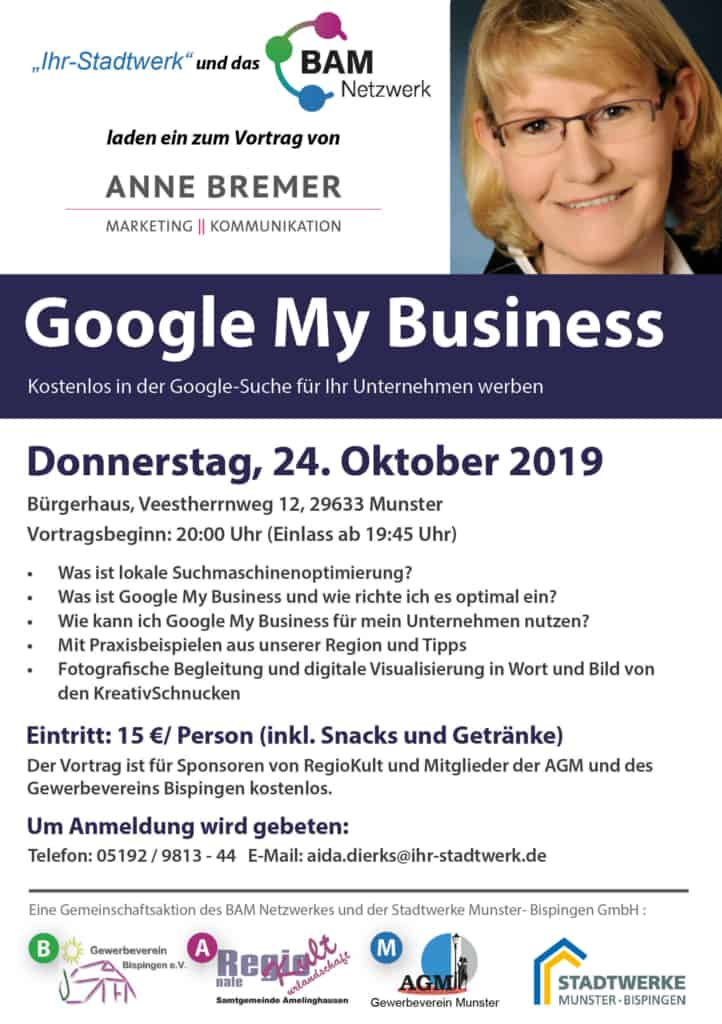 "Plakat Ankündigung ""Google My Business"""